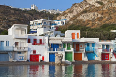 Milos island in Greece. Traditional fishing village of Klima at Milos island in Greece Royalty Free Stock Photography