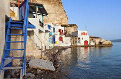 Milos island in Greece. Traditional fishing village of Klima at Milos island in Greece Royalty Free Stock Images