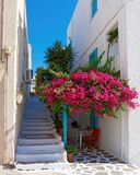 Milos island, Greece, tranquil house yard Stock Photos