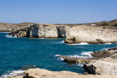 Milos island sea view with rocks and waves Stock Photos