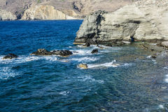 Milos island sea view with rocks and waves Royalty Free Stock Image