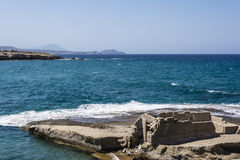 Milos island sea view with rocks and waves Royalty Free Stock Photo