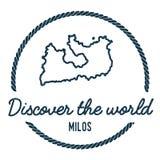 Milos Map Outline Le vintage découvrent le monde Images stock