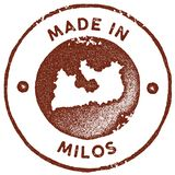 Milos map vintage stamp. Retro style handmade label, badge or element for travel souvenirs. Red rubber stamp with island map silhouette. Vector illustration royalty free illustration