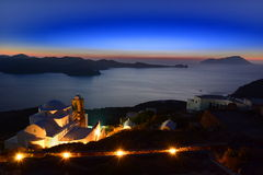 Milos by night. Cyclades islands. Greece. Milos or Melos is a volcanic Greek island in the Aegean Sea, just north of the Sea of Crete. Milos is the Stock Photo