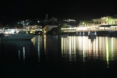 Milos by night. Sea of Milos in the nights of September Stock Photography
