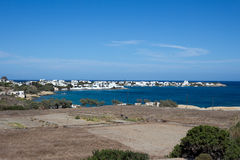 Milos - Panoramic view of Pollonia, Cyclades islands. Milos is a popular tourist destination with scenic landscape, South Aegean stock image