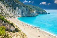 Milos plaża na Lefkada wyspie, Grecja Obraz Stock