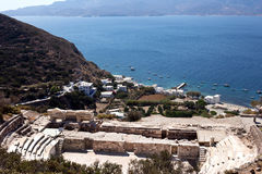 Milos - Roman Theatre above the harbor of Klima. Cyclades islands Royalty Free Stock Photography