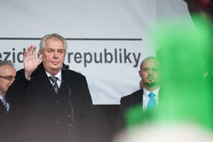 Milos Zeman. Czech President Milos Zeman, centre, said today, on November 17, 2015, the holders of opposite opinions of the migrant crisis should not be branded Royalty Free Stock Image