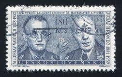 Miloslav Valouch and Juraj Hronec. CZECHOSLOVAKIA - CIRCA 1962: stamp printed by Czechoslovakia, shows Miloslav Valouch & Juraj Hronec, circa 1962 royalty free stock photos
