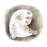 Milou Owl Sitting In une cavité Image stock