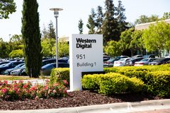Milpitas, CA, USA - May 21, 2018: Building of a Western Digital Corporation office. WDC. An American computer data storage company and the largest computer Royalty Free Stock Photos