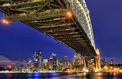 在桥梁milsons日落下的Sy CBD 图库摄影