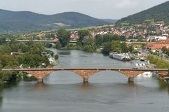 Miltenberg aerial view. Aerial view of Miltenberg, a small town in Southern Germany at summer time Royalty Free Stock Images