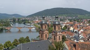 Miltenberg aerial view at summer time. Aerial view of Miltenberg, a small town in Southern Germany, with bridge over river Main Stock Image
