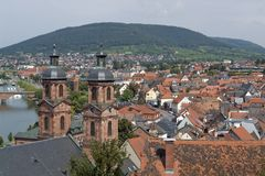 Miltenberg aerial view in sunny ambiance Royalty Free Stock Photo