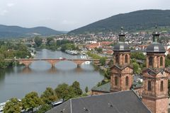 Miltenberg aerial view in sunny ambiance. Aerial view of Miltenberg, a small town in Southern Germany Royalty Free Stock Image