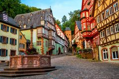 Miltenberg medieval Old Town, Bavaria, Germany royalty free stock image