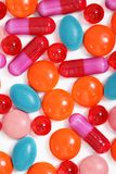 Milticolor pills and capsules Royalty Free Stock Photos