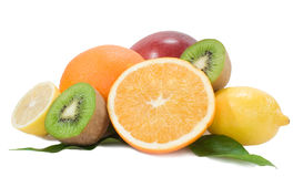 Miltifruits isolated on the white Stock Photos
