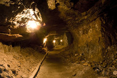 Miltitz chalk mine - tunnel. A tunel leading outside of the mine, it the unflooded section of the Mitlitz mine stock images