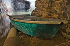Miltitz flooded mine, boat Stock Photography