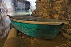 Miltitz overstroomde mijn, boot Stock Fotografie