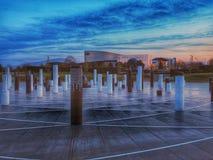 Milton Keynes Rose-Schüssel bei Sonnenuntergang stockbilder