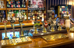 Miltre tavern, Classic english public house interior. Beer counter. Cambridge Royalty Free Stock Photo