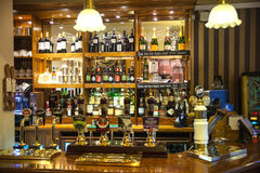 Miltre tavern, Classic english public house interior. Beer counter. Cambridge Stock Photography