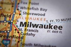 Milwaukee, Висконсин на карте Стоковые Изображения RF