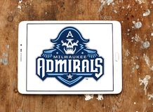 Milwaukee Admirals ice hockey team logo. Logo of Milwaukee Admirals ice hockey team on samsung tablet.The Milwaukee Admirals are a professional ice hockey team Stock Images