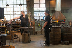 Milwaukee Blacksmith Reality TV Show. Scene from the shop of the reality TV show Milwaukee Blacksmith which appears on the History Channel royalty free stock images