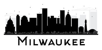 Milwaukee City skyline black and white silhouette. Royalty Free Stock Photography