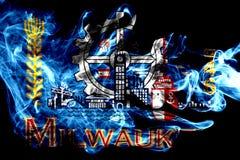 Milwaukee city smoke flag, Wisconsin State, United States Of America stock illustration