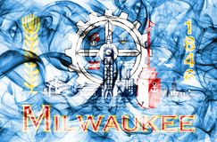 Milwaukee city smoke flag, Wisconsin State, United States Of America.  Royalty Free Stock Images