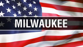 Milwaukee city on a USA flag background, 3D rendering. United states of America flag waving in the wind. Proud American Flag stock illustration