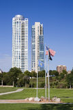 Milwaukee Condos and Veterans Park Flags Royalty Free Stock Photos