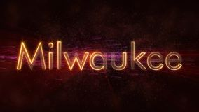 Milwaukee - glänzende Schleifungsstadtnamen-Textanimation stock abbildung