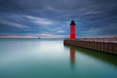 Milwaukee Lighthouse. Image of the Milwaukee Lighthouse at sunset Stock Photos