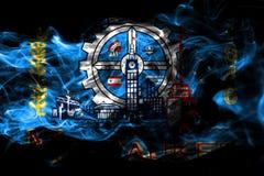 Milwaukee miasta dymu flaga, Wisconsin stan, Stany Zjednoczone Ame royalty ilustracja