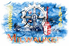 Milwaukee miasta dymu flaga, Wisconsin stan, Stany Zjednoczone Ameryka fotografia stock