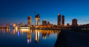 Milwaukee at Night. City of Milwaukee Wisconsin at Night lakefront ligts reflection in lake Michigan Stock Images