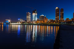 Milwaukee at Night. City of Milwaukee Wisconsin at Night lakefront ligts reflection in lake Michigan Stock Photos