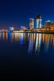 Milwaukee at Night. City of Milwaukee Wisconsin at Night vertical composition Stock Image