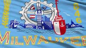 Milwaukee ondulant l'animation américaine de drapeau de ville de capitale de l'État illustration libre de droits