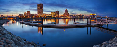 Milwaukee  Panorama. Panoramic image of the Milwaukee lakefront during sunset Royalty Free Stock Photography