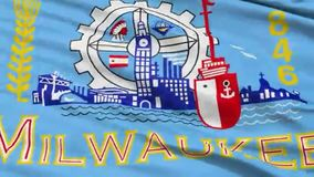 Milwaukee que agita la animación de la bandera del capital del estado americano libre illustration