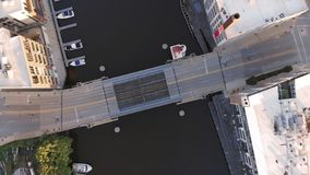 Milwaukee river in downtown, harbor districts of Milwaukee, Wisconsin, United States. Real estate, condos in downtown. Aerial view. Drone flying stock image